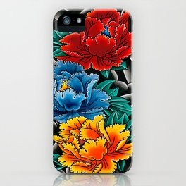 Japanese tattoo style Peonies  iPhone Case