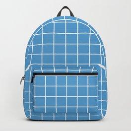 Carolina blue - turquoise color - White Lines Grid Pattern Backpack