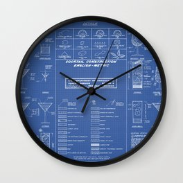 COCKTAIL print blue Wall Clock
