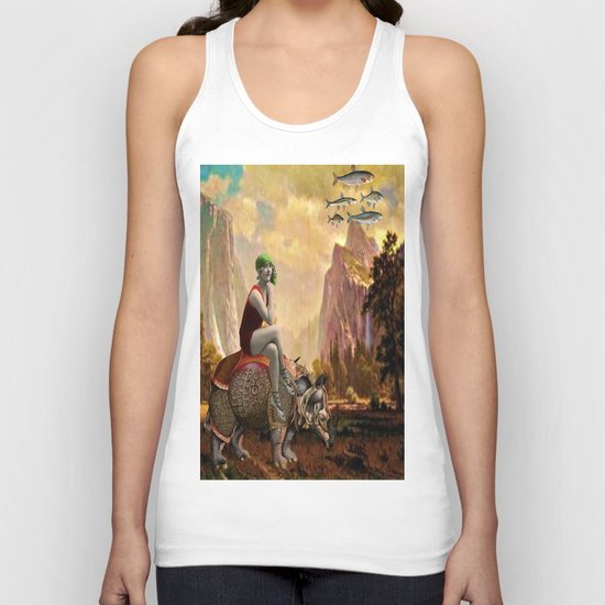 Lady and her Rhino Unisex Tank Top