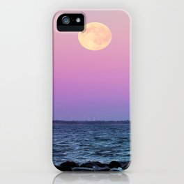 #full #moon #Blue #hour #over the #sea iPhone Case
