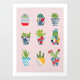 Funny cacti illustration Art Print