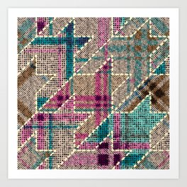 Imitation of indian patchwork pattern with texture canvas Hounds-tooth pattern. vintage seamless image. Art Print