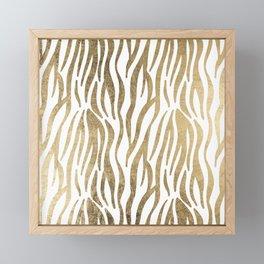 Chic faux gold white modern zebra animal print pattern Framed Mini Art Print