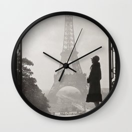 1920 Woman at the Gate, Eiffel Tower black and white photographic portrait Wall Clock