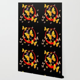 YELLOW BUTTERFLIES & RED RING  ABSTRACT ART Wallpaper