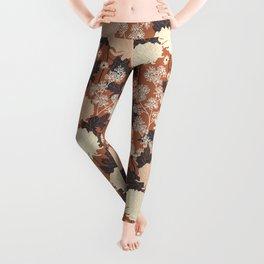 Peony Flower Brown Leggings