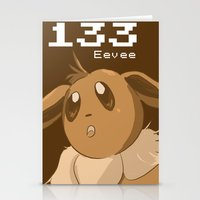 eevee Stationery Cards featuring Pkmn #133: Eevee by Michelle Rakar