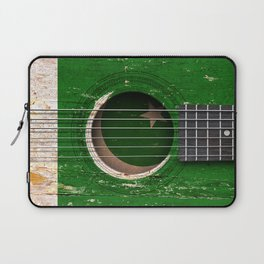 Old Vintage Acoustic Guitar with Pakistani Flag Laptop Sleeve