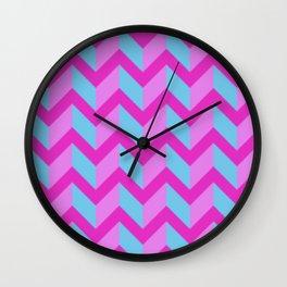 Pink Blue and Purple Chevron Wall Clock