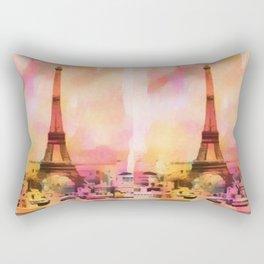 Paris Eifel Tower Abstract Art Illustration pink orange yellow Rectangular Pillow
