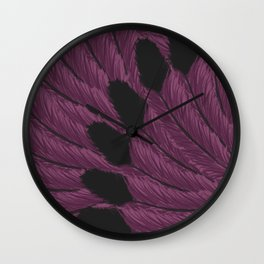 Watercolor Purple and Black Tipped Feathers Wall Clock