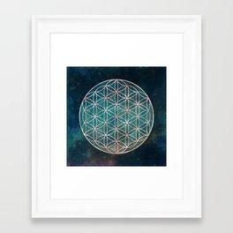 Mandala Flower of Life Rose Gold Space Stars Framed Art Print
