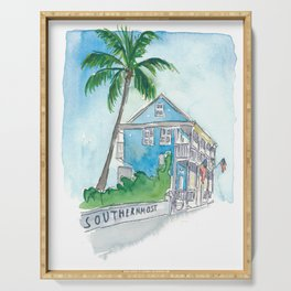 Key West Florida Conch Dream House - Southernmost Street Scene Serving Tray