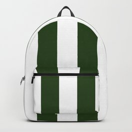 Large Dark Forest Green and White Circus Tent Stripes Backpack