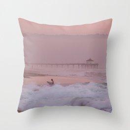 Manhattan Beach Surfer at Sunset Throw Pillow