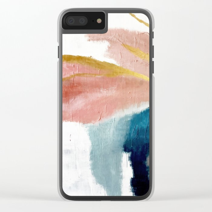 Exhale: a pretty, minimal, acrylic piece in pinks, blues, and gold Clear iPhone Case