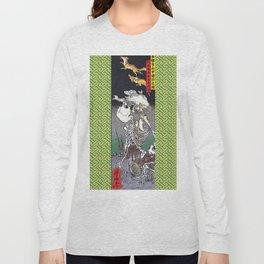 Green Kyosai Skeleton Kitsune Yokai Long Sleeve T-shirt