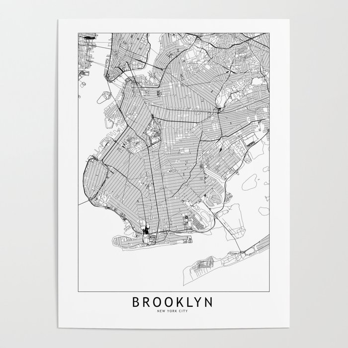 Brooklyn White Map Poster