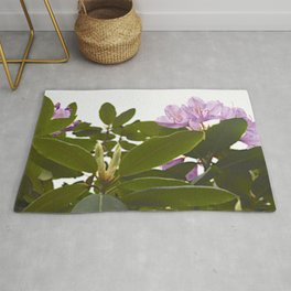 Pink Azalea Flowers with Spring Green Leaves Rug