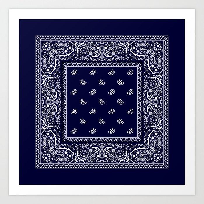 Bandana - Navy Blue - Southwestern Kunstdrucke