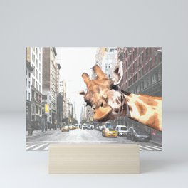 Selfie Giraffe in New York Mini Art Print