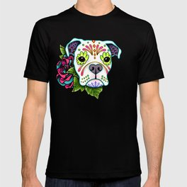 Boxer in White- Day of the Dead Sugar Skull Dog T-shirt