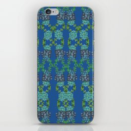Blue Succulent Double Link Pattern iPhone Skin