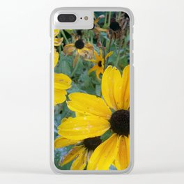 Distressed Sun Flowers Clear iPhone Case