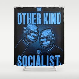 """Vintage """"The Other Kind of Socialist"""" Alcoholic Lithograph Advertisement in dark blue Shower Curtain"""