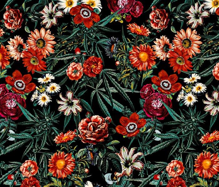 Marijuana and Floral Pattern Metal Travel Mug
