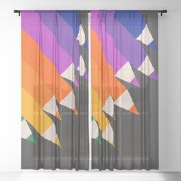 Rainbow Pencils Sheer Curtain