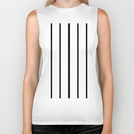 Simple Black and White Lines Decor Biker Tank
