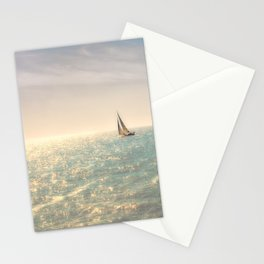 Misty summer day on the sea- a lonely boat Stationery Cards