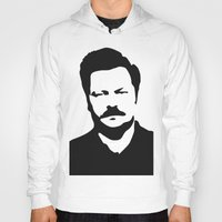 ron swanson Hoodies featuring Ron Swanson by Bjarni Bragason