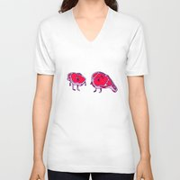meat V-neck T-shirts featuring Meat meet Meat by didu didu