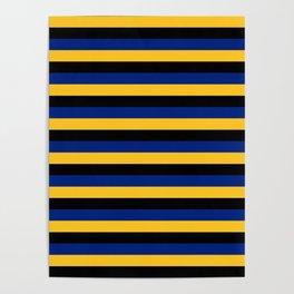 Barbados flag stripes Poster
