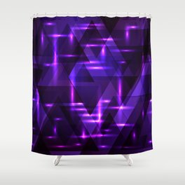 Pink intersections on a purple metal background. Shower Curtain