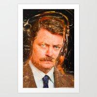 ron swanson Art Prints featuring Ron Swanson by lucaguglielmi
