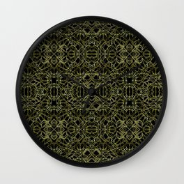 Golden Geo Tribal Pattern Wall Clock
