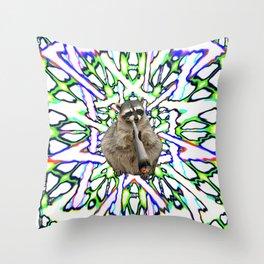 Raccoon Spliff Throw Pillow