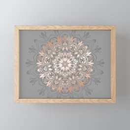 Rose Gold Gray Floral Mandala Framed Mini Art Print
