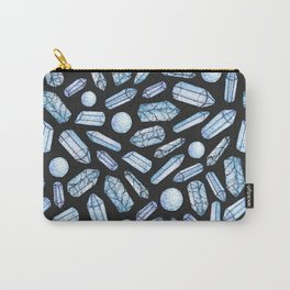 Watercolor Blue Crystals Pattern Carry-All Pouch