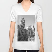 buddah V-neck T-shirts featuring Buddah by Nicolette Hand