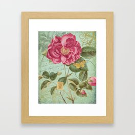 Victorian Rose & French Ephemera Art Print - Vintage Rose Collage Wall Art Framed Art Print