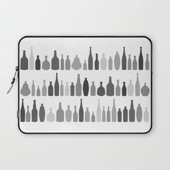 Bottles Black and White on White Laptop Sleeve