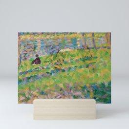 """Georges Seurat  """"Paysage, homme assis (étude pour Un Dimanche d'été à l'Ile de La Grande Jatte)"""" Mini Art Print"""