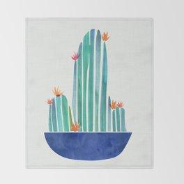 Spring Cactus Blossoms with Indigo Terra Cotta Throw Blanket