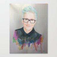 tyler oakley Canvas Prints featuring Tyler Oakley by Daniela Vasco