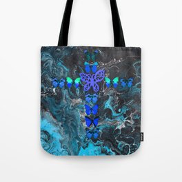 Turquoise Fire Cross Tote Bag